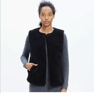 Madewell Black Faux- Fur Vest Boutique Size XS